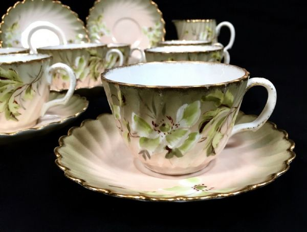 Antique Victorian Floral China Tea Set 6 People / Cup & Saucer / Green & Pink